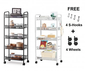 3 / 4 / 5 Tier Mesh Trolley Rack Kitchen bathroom Storage with Wheel Hooks 0117/0118/0119