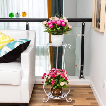 2 Tier Flower Rack Flower Pot Plant Stand 0147