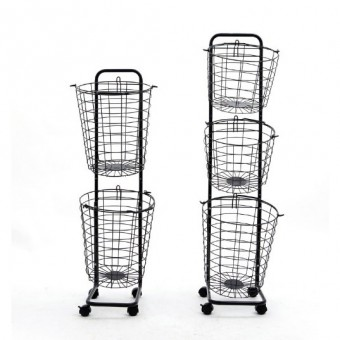 3 Tier Laundry Basket with Wheels 0134