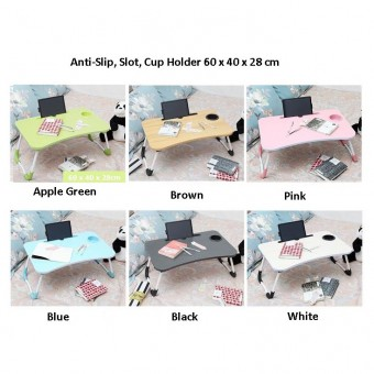 Foldable Table Anti-slip, Slot, Cup Holder Bed Laptop Notebook Computer 0133